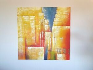 Large Orange / Yellow / Blue Abstract People Painting on Canvas Wall Picture Art