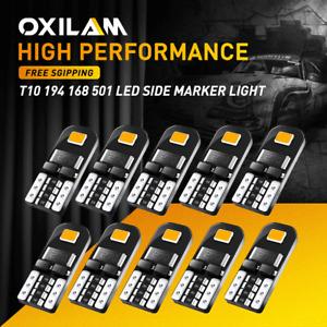 T10 LED Side Marker Light Bulbs 3K Amber Canbus Error Free 168 194 192 175 2825