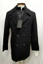 Andrew Marc New York Cushing Black Wool Blend Pea coat Medium Double Breast