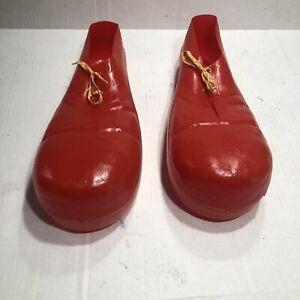"""Vintage 15"""" Rubies Jumbo Clown Shoes Red 1978 Adult Plastic Costume #741 USA"""