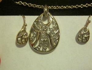 AVON Wave Necklace & Earrings Gift Set-Goldtone with Rhinestones-Hook Earrings