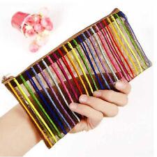 2pcs Cosmetic Bag Lines Nylon Travel Wash Pocket Dust Proof Makeup Pouch Bags