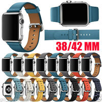 For Apple Watch 38/42MM Single Tour Leather Band Strap Bracelet Watchband New