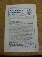 03/10/1964 Wimbledon V CORBY Town (piegati, piegato, indossati, Penna segno sul coperchio, fo