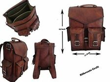 Large Vintage Style Genuine Leather Bag Rucksack Backpack Dark Brown Handmade