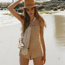 Sir The Label 0 Tilda Suede Leather Nude Beige Playsuit Romper XS 6
