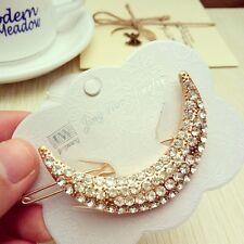 Fashion Crystal Rhinestone Bridal Hair Barrette Moon Clip Hairpin Women Jewelry