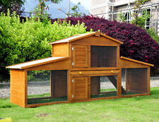 85x25x39inch Wooden Rabbit Hutch Backyard Bunny House