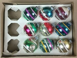 Vintage Shiny Brite USA Round Glass Christmas Ornaments (9) Striped Mica Painted