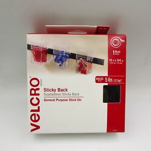 Velcro Sticky Back General Purpose Stick On Black 15ft x 3/4 in Roll #90081
