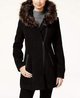 NEW Maralyn & Me Women Faux-Fur Hooded Jacket Coat Black Pockets Jacket Size M