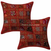 Throw Pillow Case Cover  Art Deco Patchwork Red Cotton Indian Cushion Cover