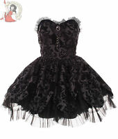 HELL BUNNY PETAL velvet flock MINI skull goth DRESS BLACK