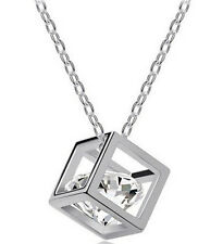 18K White Gold Plated Crystal in a Cube Necklace Pendant,  ladies Girls gift,