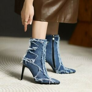 Women's Fahsion Pointed Toe Frayed Zipper Stiletto Denim Ankle Boots Shoes SKGB
