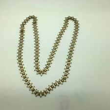 """Antique Victorian Edwardian Book Chain Opera Length Necklace Gold Tone 30 """""""