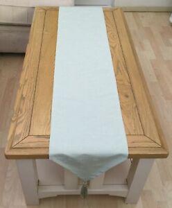 """75"""" Faux silk duck egg Christmas designer beadTassels table runner Handmade UK"""