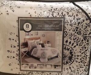 NEW Gray Medallion Sunburst 8pc King Comforter Set