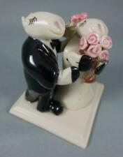 HIPPO HIPPOPOTAMUS or COW BRIDE & GROOM Glazed Clay Figurine WEDDING CAKE TOPPER