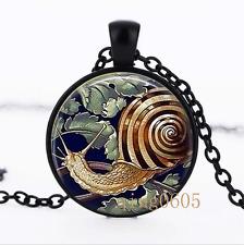 Snail Art , Snail Shell photo Glass Dome black Chain Pendant Necklace wholesale