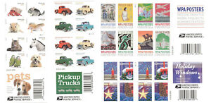 80 USPS Forever Stamps ~ Pets, Pickup Trucks, WPA Posters, Holiday Windows    MG