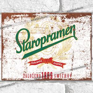 STAROPRAMEN Metal Signs Retro Vintage Lager Beer Bar Pub Man Cave Tin Sign UK