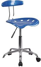Durable Vibrant Bright Blue & Chrome Swivel Task Office Chair w/Tractor Seat