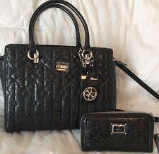 NWT Guess Black MALENA Purse Handbag Shoulder Bag Wallet SET