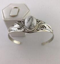 Native American Sterling Silver Handmade White Buffalo stone cuff bracelet
