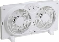 White Twin Window Fan W/ 9 in Blades Adjustable Thermostat & Max Cool Technology