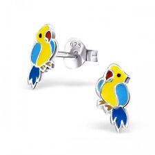 Plata esterlina 925 Bright Epoxi colorido Loro Aves Aretes