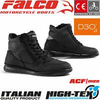 FALCO CORTEZ 2 Motorradsneaker schwarz High-Tex Leder perforiert D3O Protektoren
