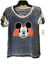 Disney Mickey Mouse Shirt Gray Burnout Tee Womens Size Small