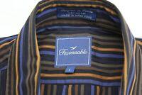 Faconnable Slate Blue Orange Stripe LONG SLEEVE SHIRT L Large 16.5 x 34/35 Trim