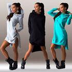Women Winter Pockets Hooded Dress Asymmetric Jumper Long Tops Sweater Sweatshirt