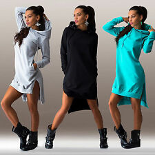 Damen Langarm Hoodies Sweatshirt Sweats Kapuze Kleider Hemdkleider Longshirt 46
