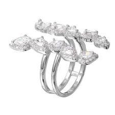 FINE 925 STERLING SILVER  DESIGNER FULL FINGER RING W/ DIAMONDS /sz 5 - 10