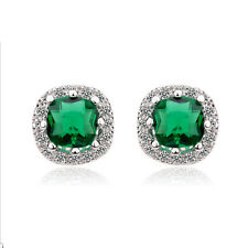 18K WHITE GOLD PLATED GENUINE EMERALD CZ & AUSTRIAN CRYSTAL STUD EARRINGS