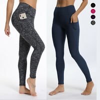 Women High Waist Yoga Leggings Pocket Fitness Sport Gym Workout Athletic Pants L