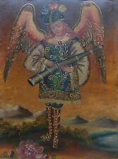 Peruvian Cusco Folk Art Oil Painting on Cloth Canvas: Angel with Blow Horn