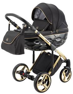 Premium Adamex Chantal Gold Black Baby Pram + Gold Car Seat Stroller Pushchair