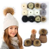 2pcs 12cm Faux Fox Fur Pompom Ball With Button For Hat Keyring Handbag Fashion