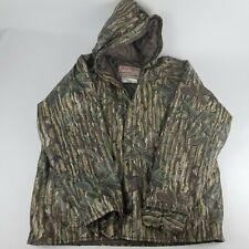 Vintage Realtree Camo Rain Jacket Sz Large Vinyl Hooded hunting poncho tree bark