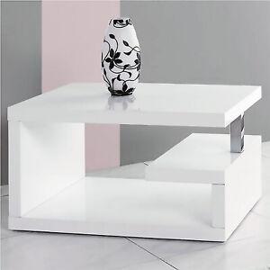 Designer Geno Square Coffee Table, Gloss White Office Living Room Bedroom