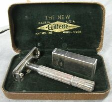 Vintage 1930's Razor Set in Box Nickle Plate Gillette With Blade Holders