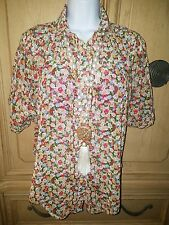 AKUALANI FLORAL MULTI COLOR BUTTON DOWN BLOUSE SHIRT TOP WOMEN SIZE SMALL