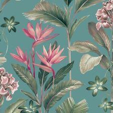 Belgravia Oliana Floreale Tropicale Palma Foglie Fiori parati - Morbido Teal