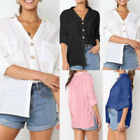 Women Ladies Button Long Sleeve Loose Tunic Tops Cotton Linen Blouse Shirts NEW