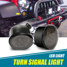 For 07-17 Jeep Wrangler JK 2x Smoke Lens LED Amber Turn Signal Replacement Light