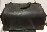 LG. VTG. Antique Pebbled Exotic Leather Doctor Bag Medical Travel Case
